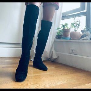 Zara Suede Over Knee Flat Boots SZ 38